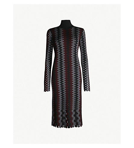 fff6697afa49 DIANE VON FURSTENBERG Turtleneck knitted midi dress (Cabernet+multi