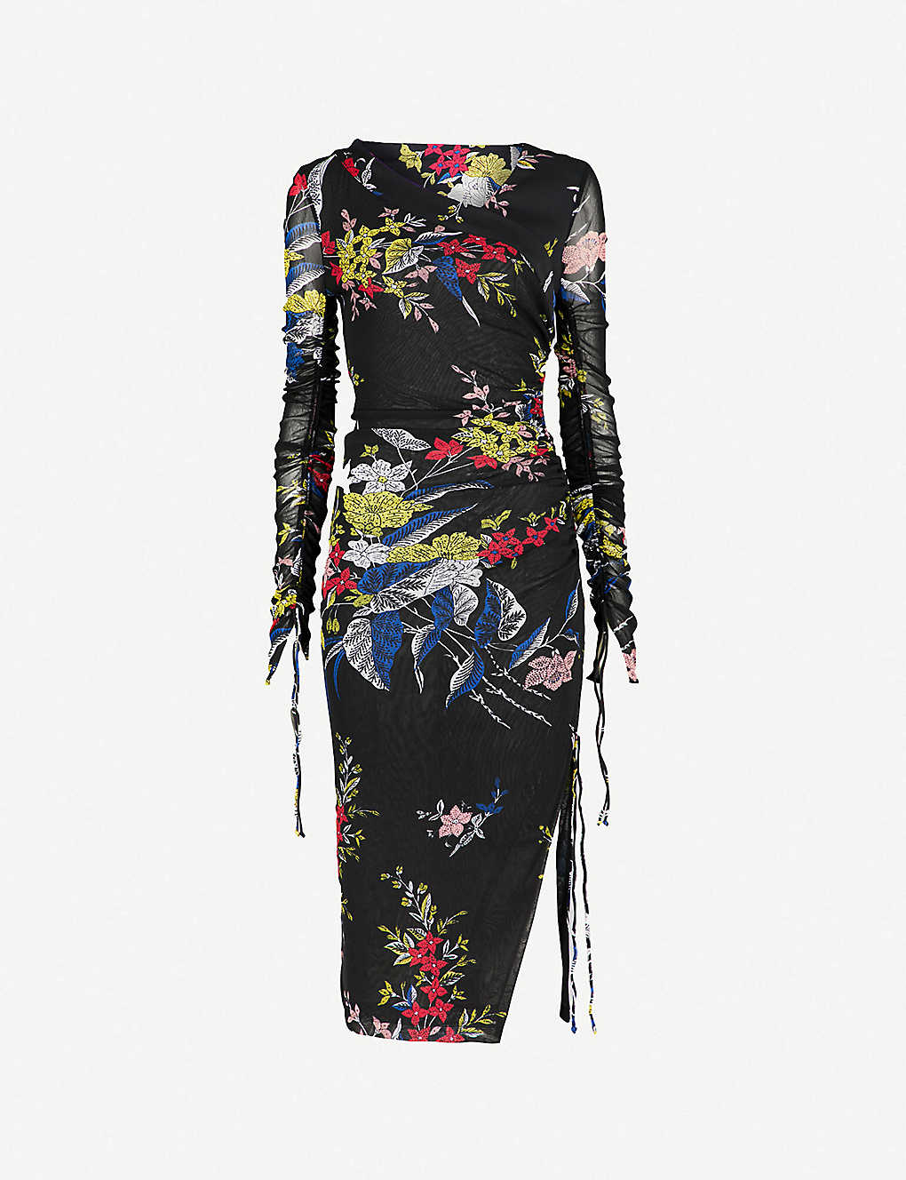 97ffb2a7a0f59d DIANE VON FURSTENBERG - Floral-print stretch-silk mesh dress ...
