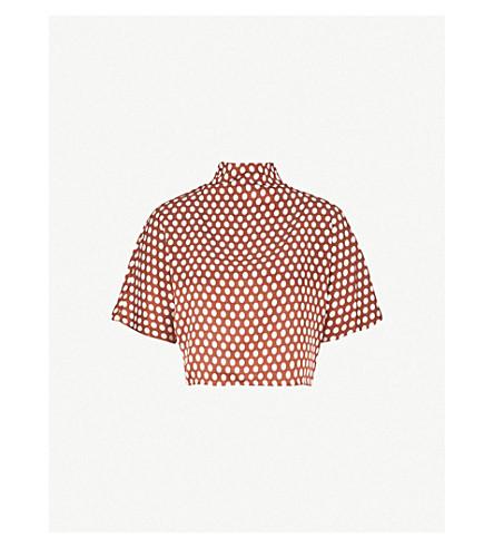e1181ed00bf7e9 DIANE VON FURSTENBERG Polka dot silk-satin top (Baker+dot+small+