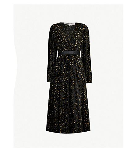 76f5abe9f755e DIANE VON FURSTENBERG Leopard-pattern devoré wrap dress (Black+gold