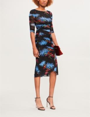 Diane Von Furstenberg  花的-打印 褶饰 网格 穿着