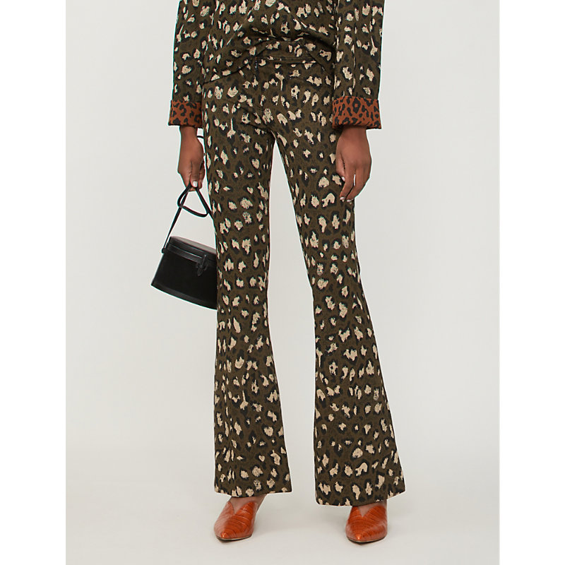 Diane Von Furstenberg Flared pants LEOPARD-PRINT FLARED WOVEN TROUSERS