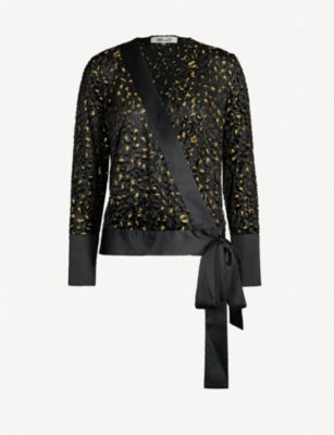 DIANE VON FURSTENBERG Wrap-over metallic devoré top