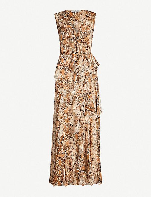 62f616ed22 DIANE VON FURSTENBERG Lacey snakeskin-print silk-crepe midi dress