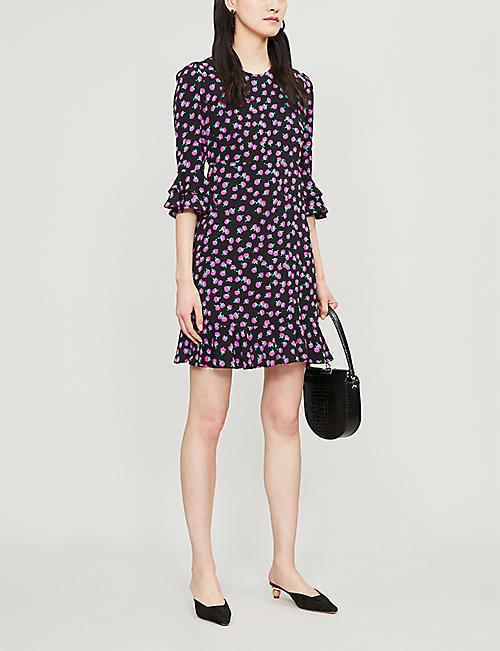 57ead9a91e DIANE VON FURSTENBERG Swirling Berry-printed frill sleeved crepe mini dress.  NEW SEASON