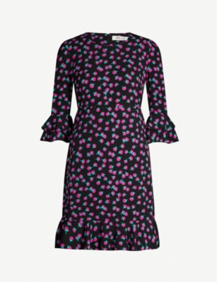 DIANE VON FURSTENBERG Swirling Berry-printed frill sleeved crepe mini dress