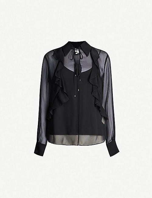 e071291942b DIANE VON FURSTENBERG Everleigh ruffle-trimmed sheer silk blouse