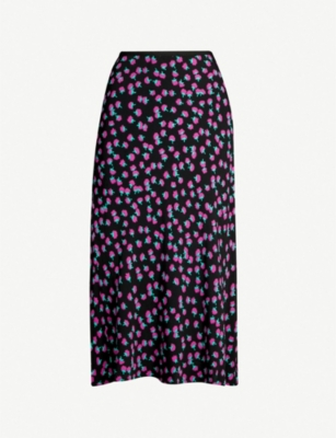 DIANE VON FURSTENBERG Swirling Berry-printed high-waisted crepe skirt