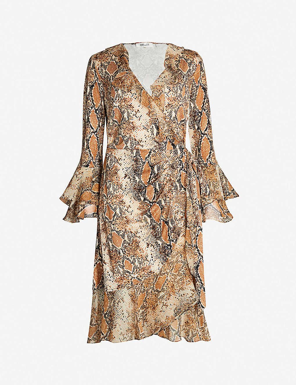 3ddf72616a0 DIANE VON FURSTENBERG - Carli python-print frilled silk-jersey wrap ...