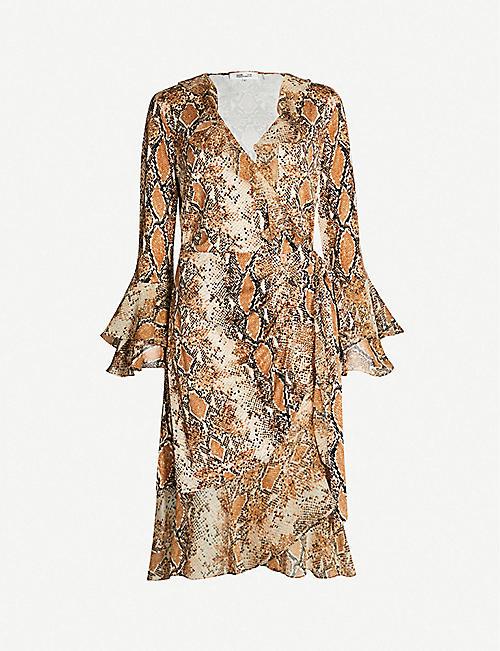 771aa0320b175f DIANE VON FURSTENBERG Carli python-print frilled silk-jersey wrap dress