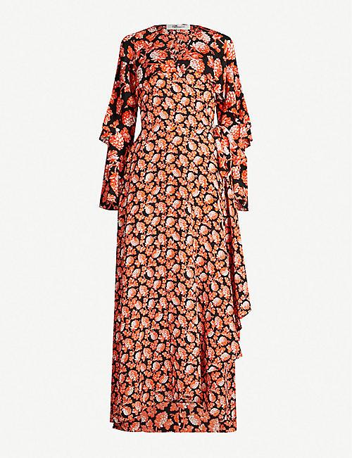 9c8eae5515b DIANE VON FURSTENBERG Alice lace-trimmed floral-print silk wrap dress
