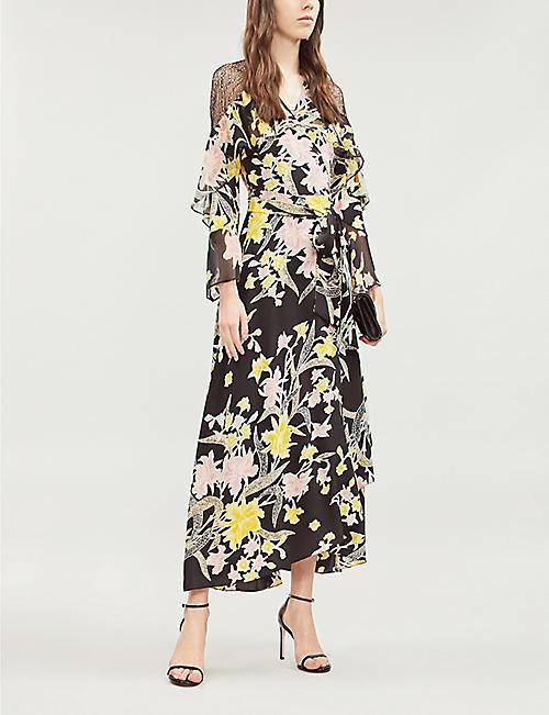 e1dacf625c9a6 DIANE VON FURSTENBERG Alice lace-trimmed floral-print silk wrap dress