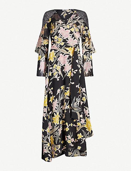 c5219f3ee775 DIANE VON FURSTENBERG Alice lace-trimmed floral-print silk wrap dress