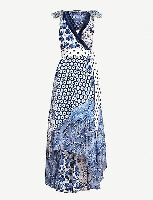 ff1bf245d9c153 DIANE VON FURSTENBERG Ava patchwork-print asymmetric silk wrap dress