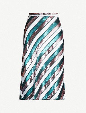 DIANE VON FURSTENBERG Striped sequinned high-rise skirt