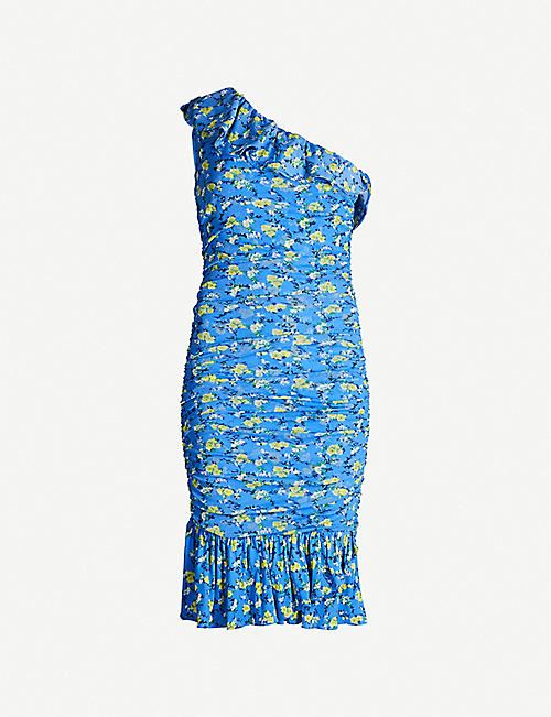 dae83b3327 DIANE VON FURSTENBERG Aerin one-shoulder ruched floral-print woven mini  dress