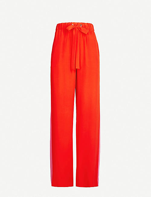 c04708689f3 DIANE VON FURSTENBERG Ellington side-striped high-rise silk trousers