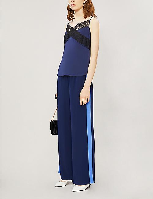 b770705a4 DIANE VON FURSTENBERG Ellington side-striped high-rise silk trousers