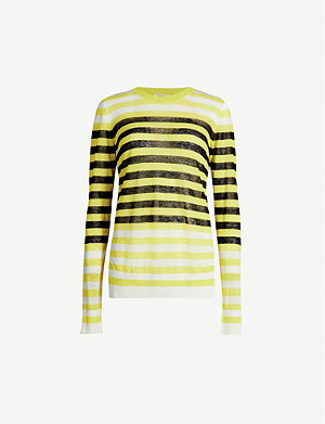 DIANE VON FURSTENBERG Kayla contrast-striped knitted top