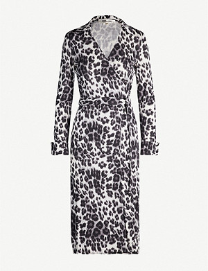 DIANE VON FURSTENBERG Ross leopard-print silk midi wrap dress