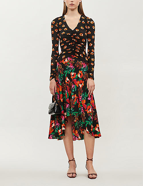 DIANE VON FURSTENBERG Linia contrast floral-print mesh and stretch-silk midi dress