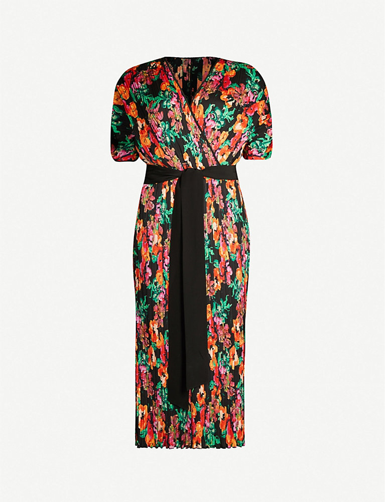 Autumn floral-print stretch-crepe wrap dress