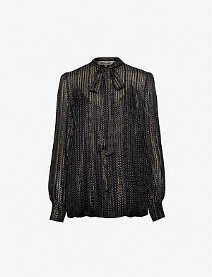 DIANE VON FURSTENBERG Lanie metallic-striped silk-blend shirt