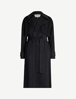 DIANE VON FURSTENBERG Wrap-over notch-lapels wool-felt coat