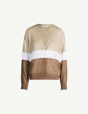 BRUNELLO CUCINELLI Colour-blocked sequin-embellished wool and silk-blend cardigan