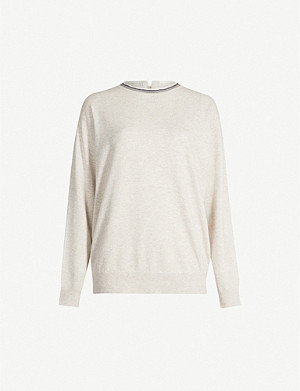 BRUNELLO CUCINELLI Bead-embroidered cashmere-knit jumper