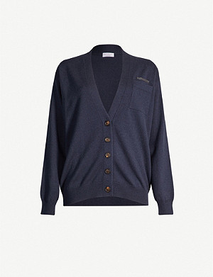 BRUNELLO CUCINELLI Beaded-trim cashmere-knit cardigan