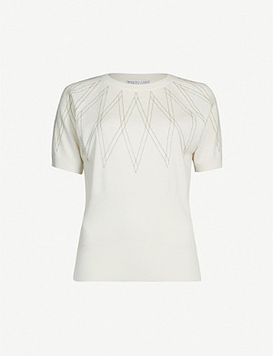 BRUNELLO CUCINELLI Short-sleeved beaded cashmere jumper