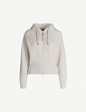 BRUNELLO CUCINELLI Hooded ribbed cashmere cardigan