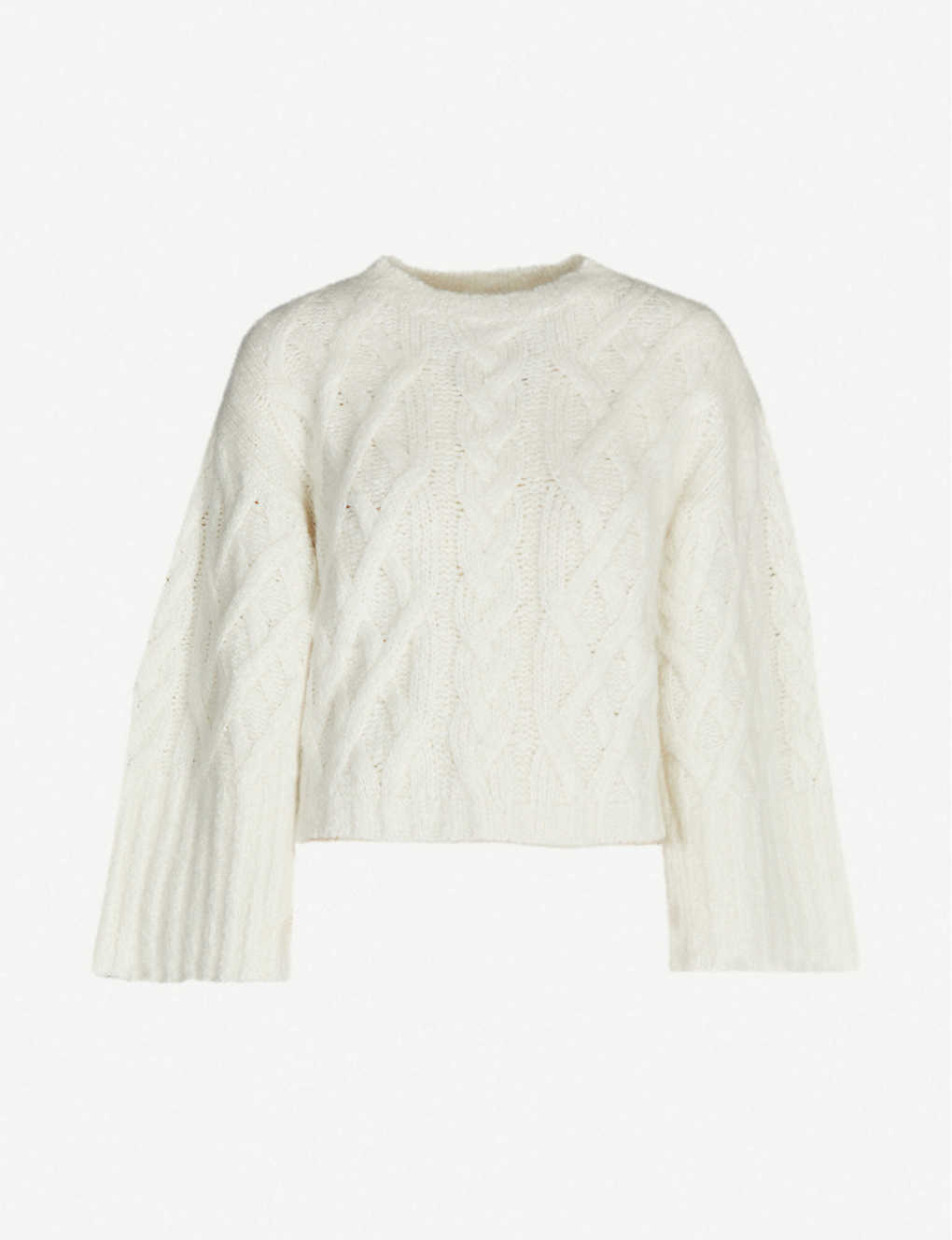 BRUNELLO CUCINELLI: Cable-knit cropped cashmere-blend jumper