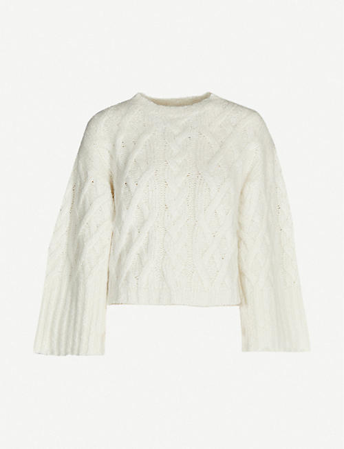 BRUNELLO CUCINELLI Cable-knit cropped cashmere-blend jumper