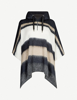 BRUNELLO CUCINELLI Striped hooded knitted poncho