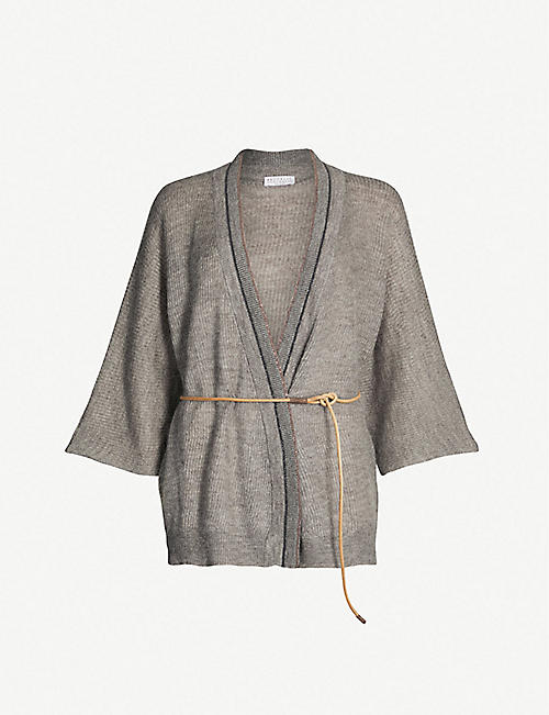 61119218fa9 BRUNELLO CUCINELLI Belted bead-embellished mohair-blend cardigan