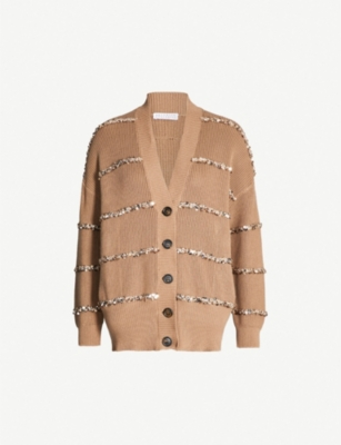 BRUNELLO CUCINELLI Sequin-striped cotton and wool-blend cardigan