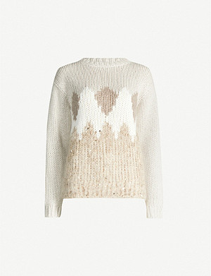 BRUNELLO CUCINELLI Woven wool, cashmere and silk-blend jumper
