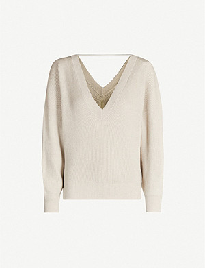 BRUNELLO CUCINELLI V-neck metallic cashmere jumper