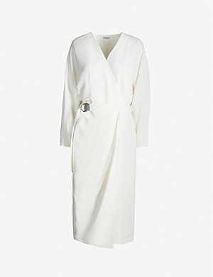 BRUNELLO CUCINELLI Embellished D-ring belt crepe wrap dress