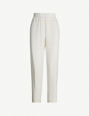 BRUNELLO CUCINELLI Elasticated-waist tapered high-rise crepe trousers