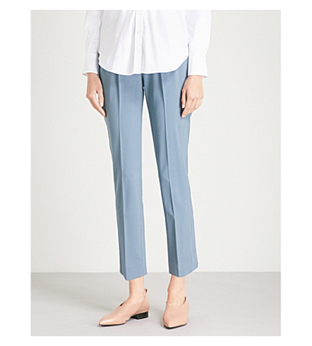 BRUNELLO CUCINELLI TAPERED CROPPED MID-RISE STRETCH-WOOL TROUSERS