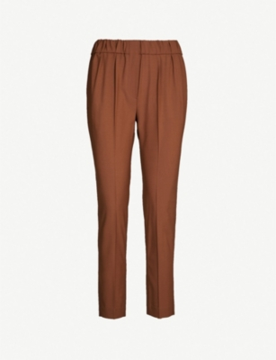BRUNELLO CUCINELLI Mid-rise cropped stretch-wool trousers