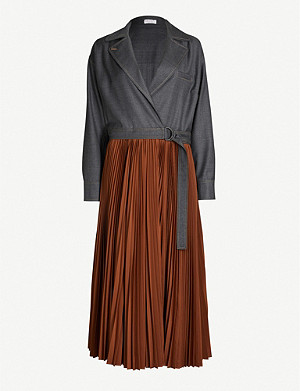 BRUNELLO CUCINELLI Pleated notch-lapel wool and crepe midi dress