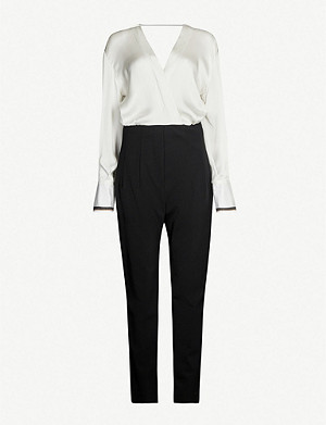 BRUNELLO CUCINELLI Beaded-trim two-tone silk straight-leg jumpsuit