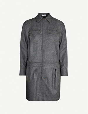 BRUNELLO CUCINELLI Collared straight wool playsuit