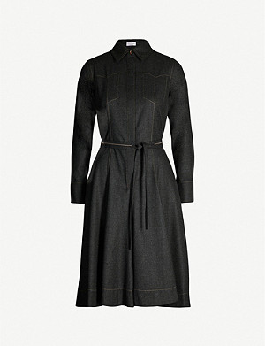BRUNELLO CUCINELLI Fit-and-flare collared stretch-wool midi dress