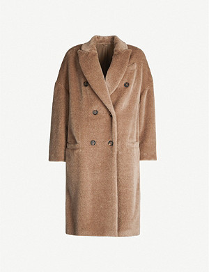 BRUNELLO CUCINELLI Double-breasted alpaca and virgin wool coat