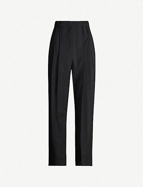 BRUNELLO CUCINELLI High-rise wide stretch-woven trousers